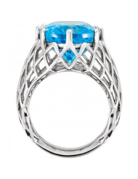 14K White Swiss Blue Topaz Nest Design Ring