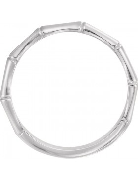Bamboo 2 Circle Stackable Ring Rhodium-Plated