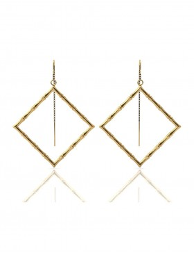 Bamboo 1 Square Earrings Sterling Silver 18K Gold-Plated
