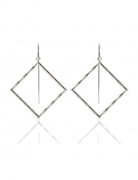 Bamboo 1 Square Earrings Sterling Silver with Palladium Rhodium-Plated