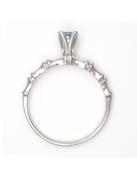 Bamboo 2 Circle Ring Rhodium-Plated with 3.5mm Square Aquamarine in Tulipset® Setting