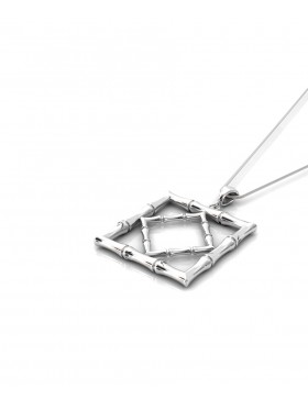 Bamboo 1 Square Pendant Sterling Silver Rhodium-Plated