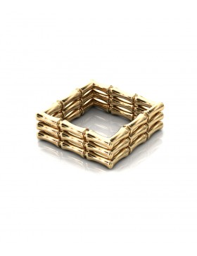 Bamboo 1 Square Ring Stack x3 Sterling Silver with Palladium 18K Gold-Plated or Rhodium-Plated