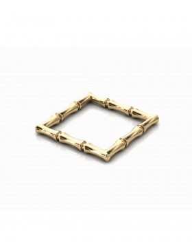 Bamboo 1 Square Ring Slim Sterling Silver with Palladium