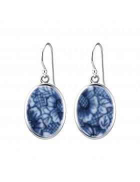 Fine China Porcelain Oval Earrings