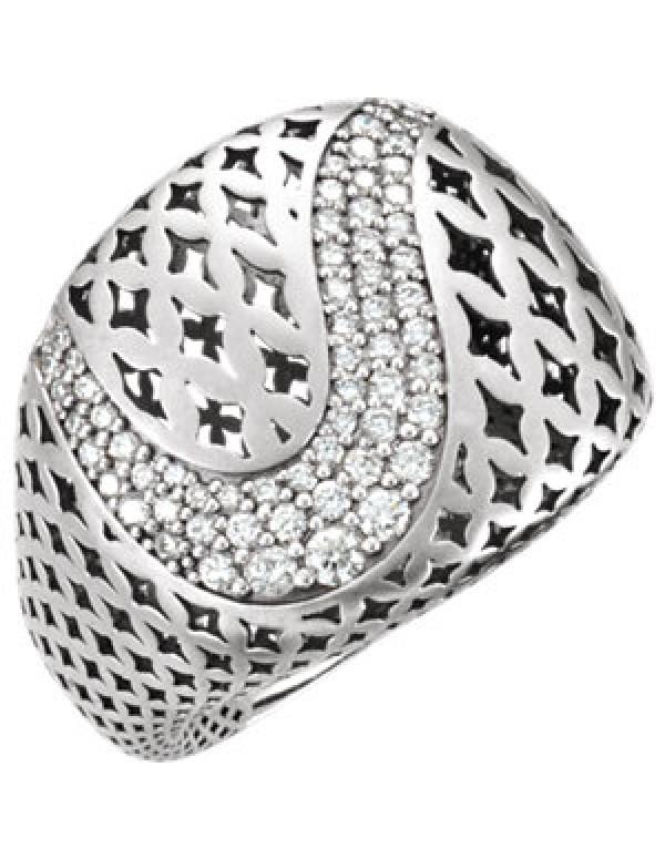 14K White 5/8 CTW Diamond Pierced Circular Ring