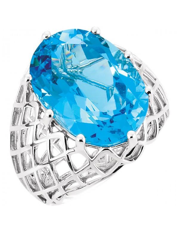 14K White Swiss Blue Topaz Nest Design Ring