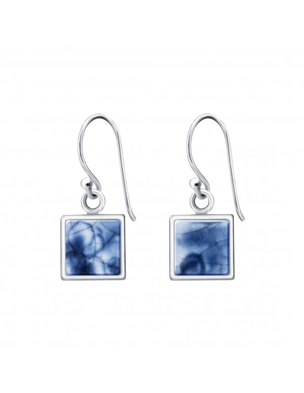 Fine China Porcelain in Square Sterling Silver Earrings