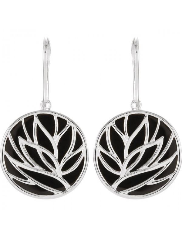 Onyx Lotus Earrings