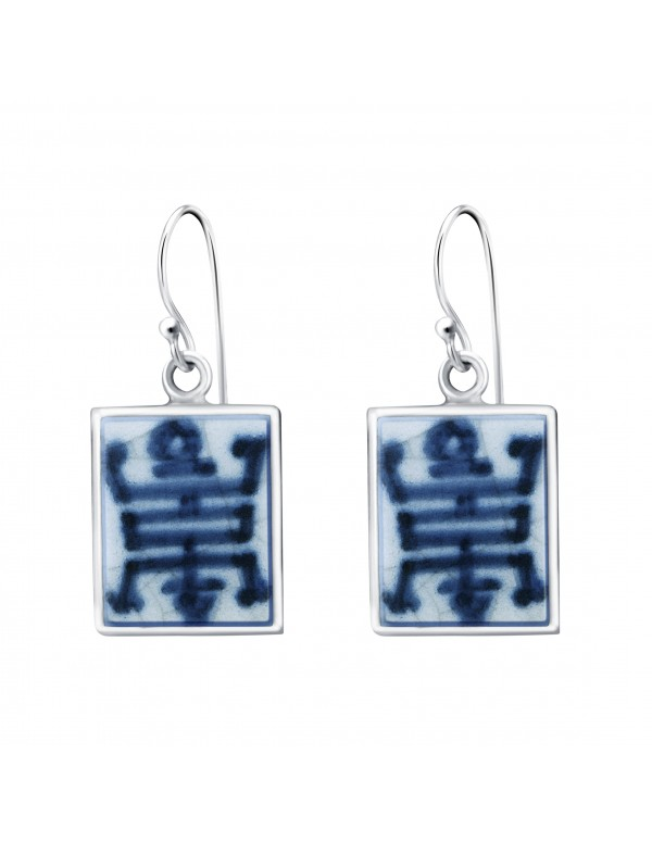 Fine China Porcelain with Chinese Character in Rectangle Sterling Silver Earrings
