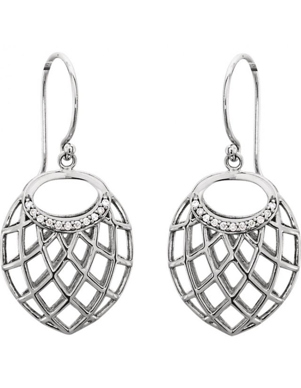 14K White .06 CTW Diamond Nest Design Earrings
