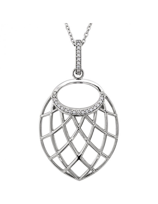 "14K White .06 CTW Diamond Nest Design 18"" Necklace"