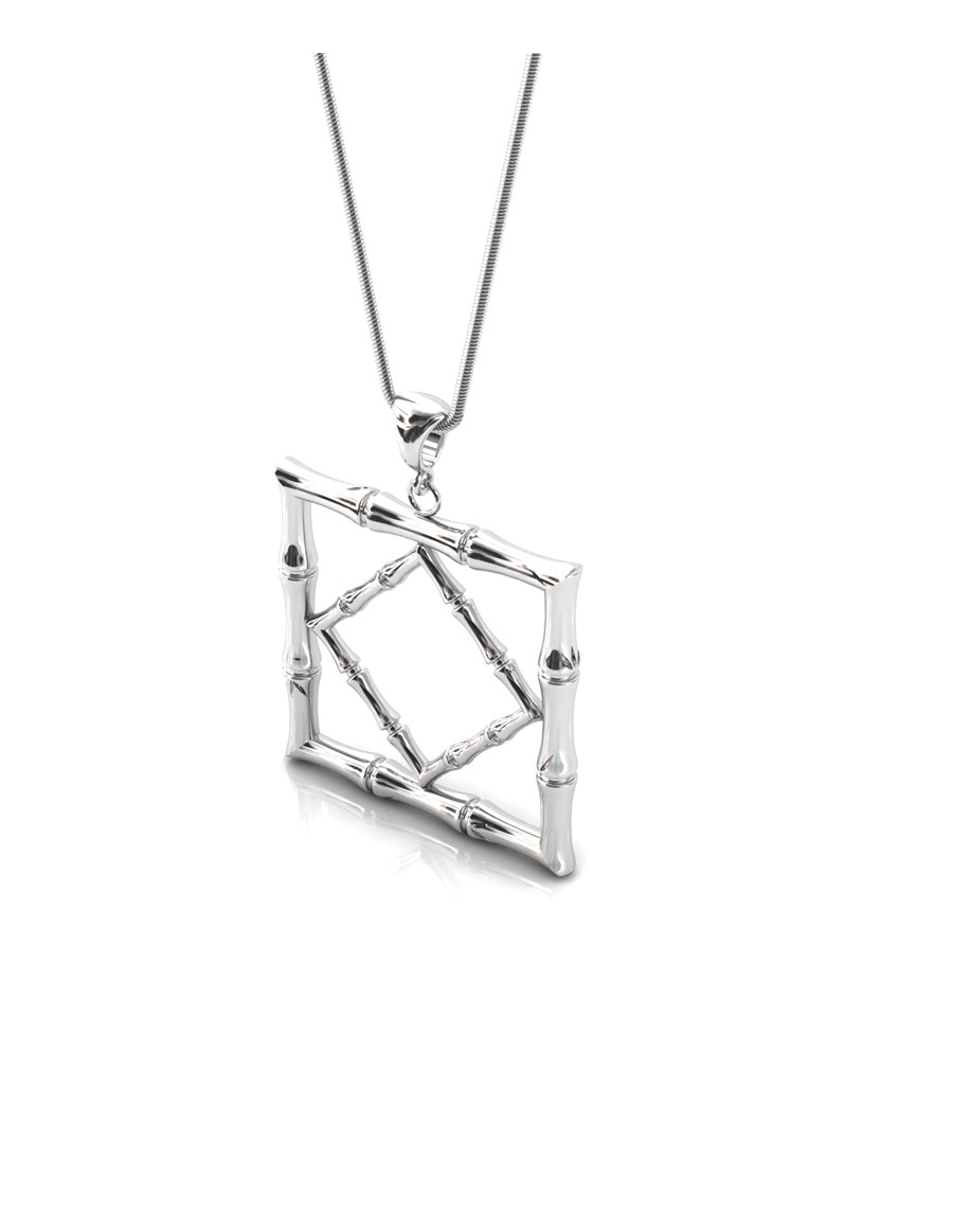 Bamboo 1 Square Pendant in 925 Sterling Silver with Palladium Rhodium-Plated 3D