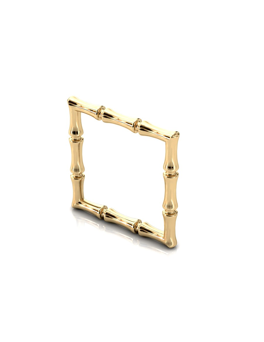 Bamboo 1 Square Ring Slim in 925 Sterling Silver with Palladium 18K Gold-Plated