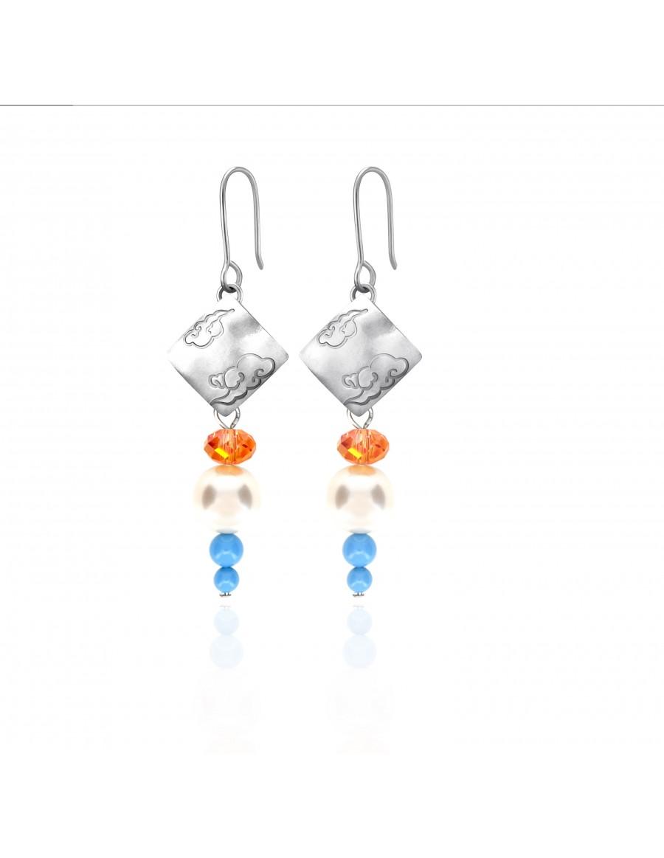 Swarovski Crystal Pearls Earrings with Sterling Silver Celestial Cloud 3 Pendants
