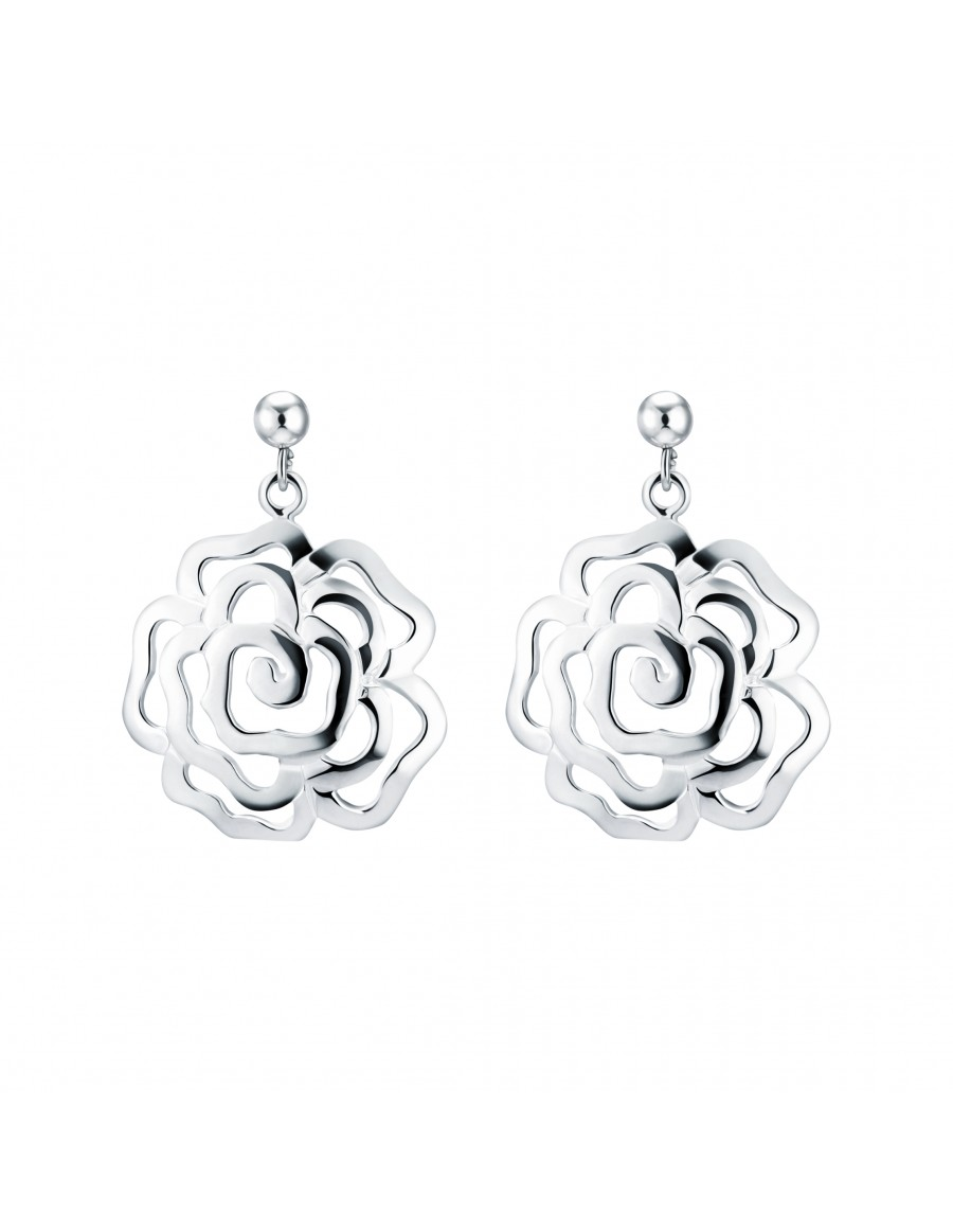 Sterling Silver Chinese Rose Earrings with Studs