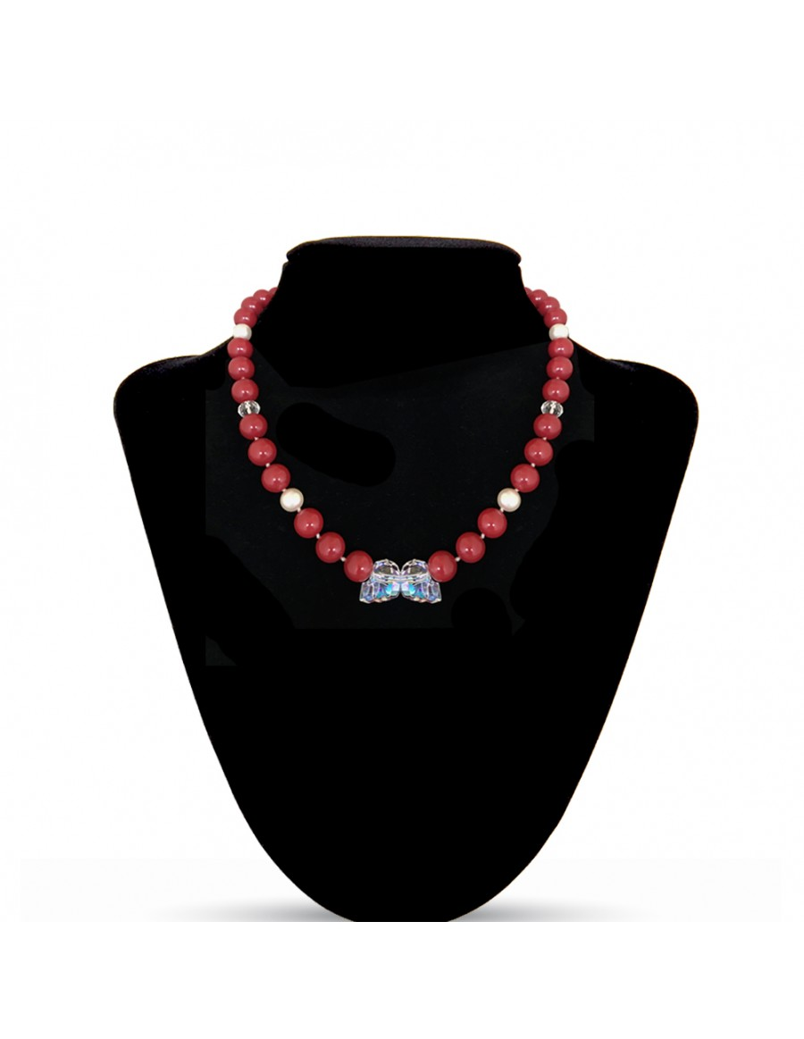 Swarovski Crystal Pearls Necklace in Red Coral with Skull Beads in Aurore Boreale
