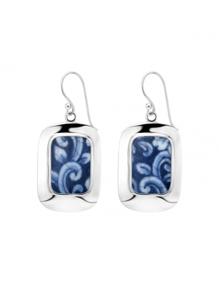 Fine China Porcelain in Rectangle Sterling Silver Earrings