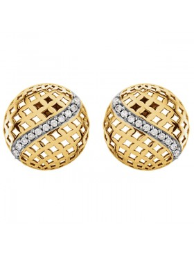 14K Yellow 1/5 CTW Diamond Pierced Circular Earrings