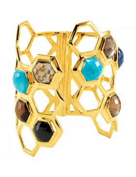 Missoma® Checkerboard 18K Vermeil Turquoise with Multi-Gemstones Hinged Cuff Bracelet