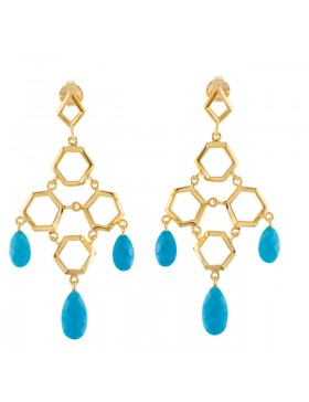 Missoma® Checkerboard 18K Vermeil Turquoise Chandelier Earrings