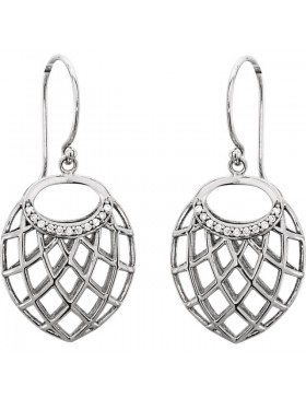 14K White .06 CTW Diamond Nest Design Earrings