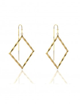 Bamboo 1 Square Earrings in 925 Sterling Silver with Palladium 18K Gold-Plated Side 3D