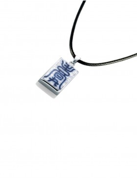 Fine China Porcelain with Chinese Character in Rectangle Sterling Silver Pendant