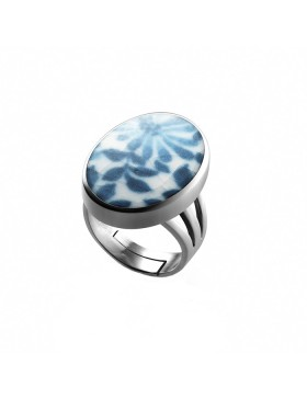 Fine China Porcelain in Oval Sterling Silver Ring