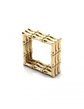 Bamboo 1 Square Ring Stack x3 in 925 Sterling Silver with Palladium 18K Gold-Plated 3D