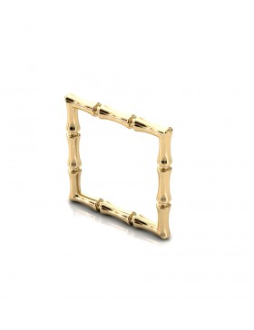 Bamboo 1 Square Ring Slim in 925 Sterling Silver 18K Gold-Plated