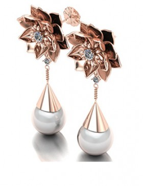 Lotus 1 Realism Earrings Type 2 in 14K Rose Gold