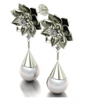 Lotus 1 Realism Earrings Type 2 in 14K White Gold