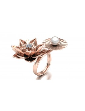 Lotus 1 Realism Ring Duo Type 1 in 14K Rose Gold