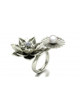 Lotus 1 Realism Ring Duo Type 1 in 14K White Gold