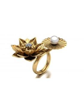 Lotus 1 Realism Ring Duo Type 1 in 14K Yellow Gold