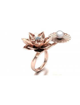 Lotus 1 Realism Ring Duo Type 2 in 14K Rose Gold