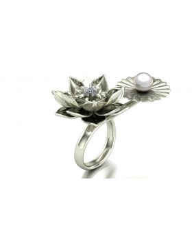 Lotus 1 Realism Ring Duo Type 2 in 14K White Gold