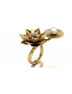 Lotus 1 Realism Ring Duo Type 2 in 14K Yellow Gold