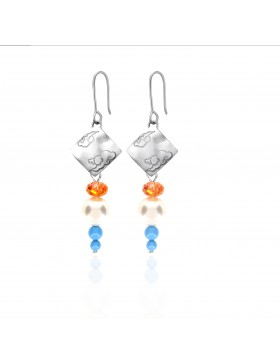 Swarovski Crystal Pearls Earrings with Sterling Silver Celestial Cloud 3 Pendants
