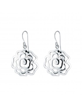Sterling Silver Chinese Rose Earrings with Hooks