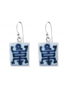 Fine China Porcelain with Chinese Character Rectangle Earrings