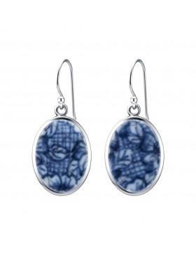 Fine China Porcelain in Oval Sterling Silver Earrings