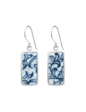 Fine China Porcelain in Rectangle Sterling Silver Earrings 2