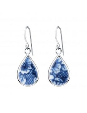 Fine China Porcelain in Teardrop Shape Sterling Silver Earrings