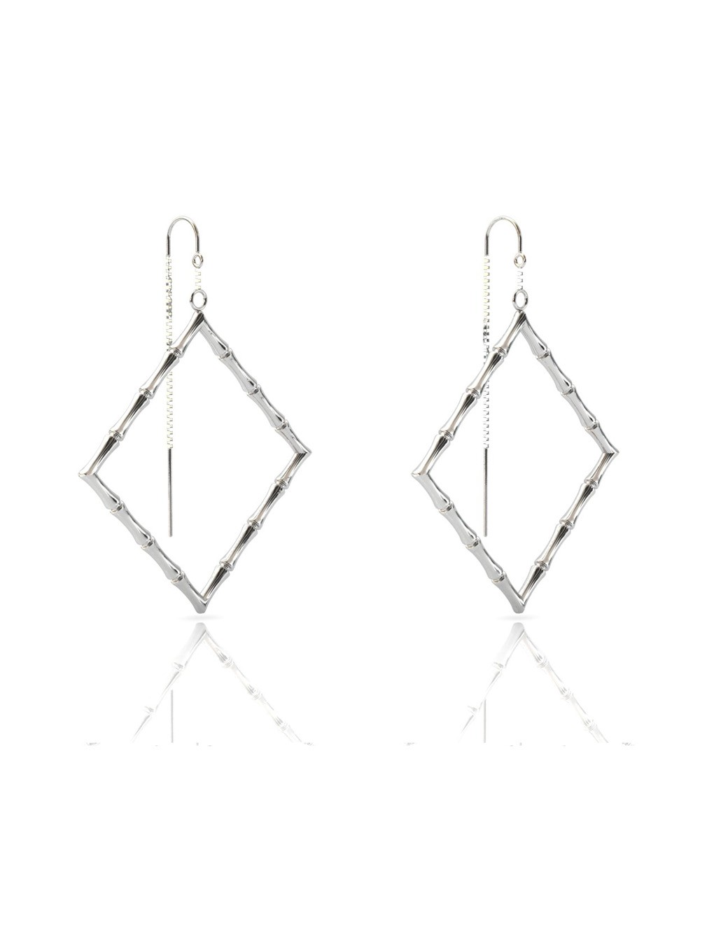 Bamboo 1 Square Earrings in 925 Sterling Silver with Palladium Rhodium-Plated Side 3D