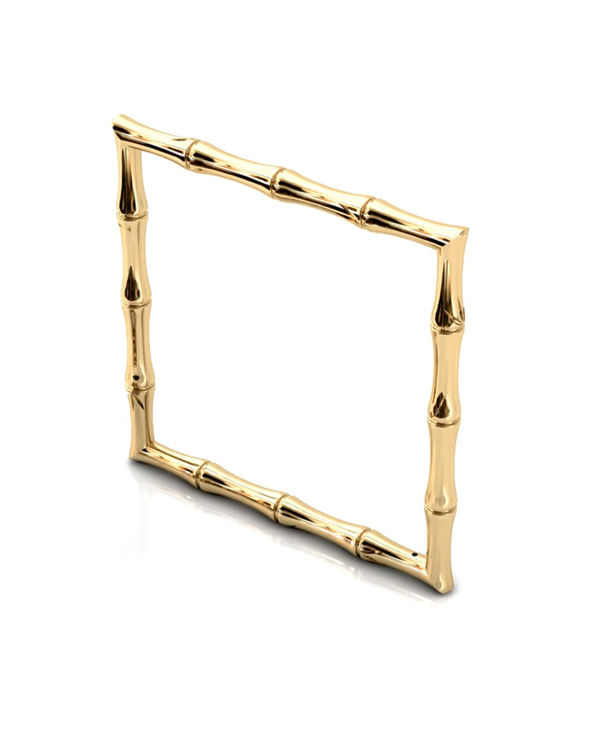 Bamboo 1 Square 68mm Bangle in 925 Sterling Silver with Palladium 18K Gold-Plated 3D