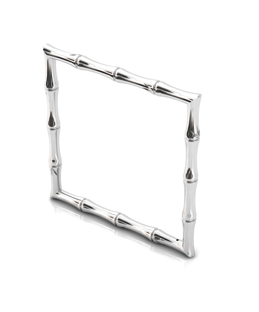 Bamboo 1 Square 68mm Bangle in 925 Sterling Silver with Palladium Rhodium-Plated 3D