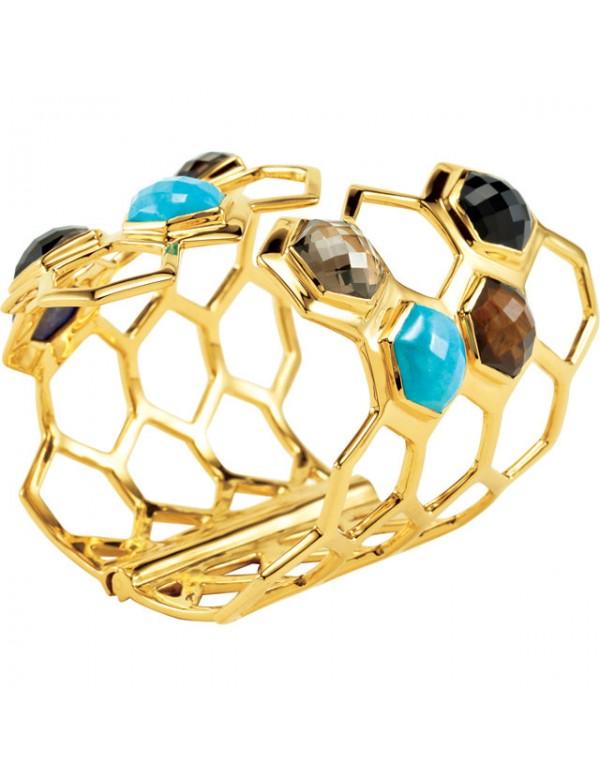 Missoma® Checkerboard 18K Vermeil Turquoise with Multi-Gemstones Hinged Cuff Bracelet