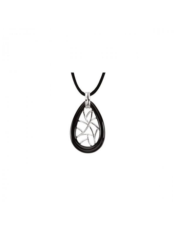 Onyx Lattice Pendant Necklace Front